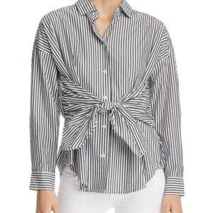 Frame Tie Front Striped Poplin Button Down Shirt